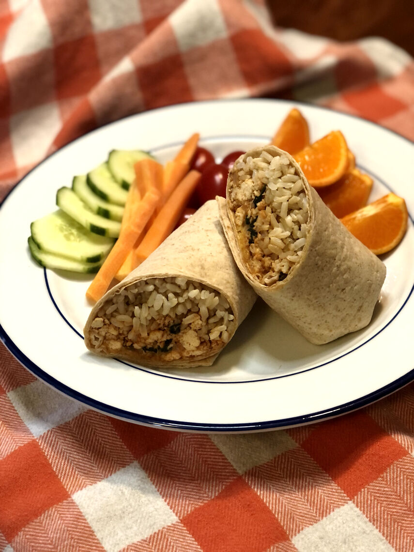 Here we are serving the tofu crumble as the protein in a vegetarian burrito!