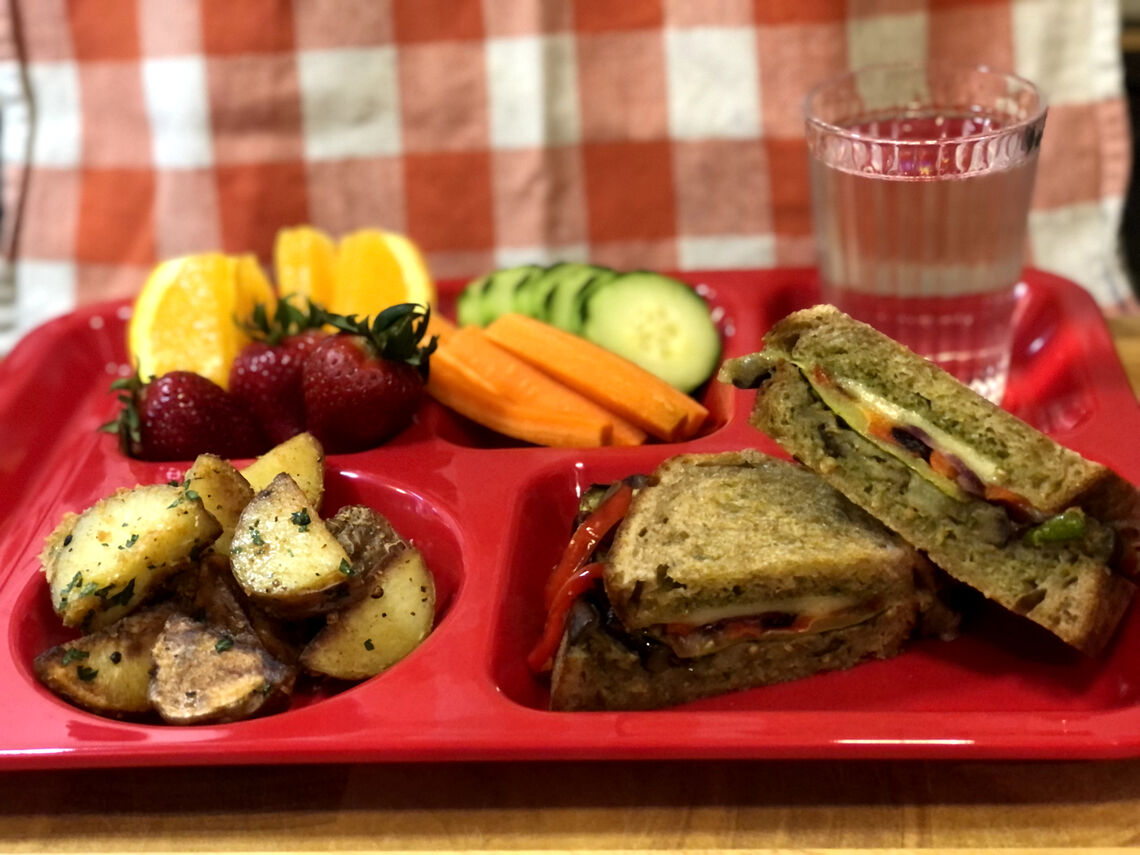 School Lunch Recipe for Roasted Vegetable Panini with Garlic Parmesan Roasted Potatoes