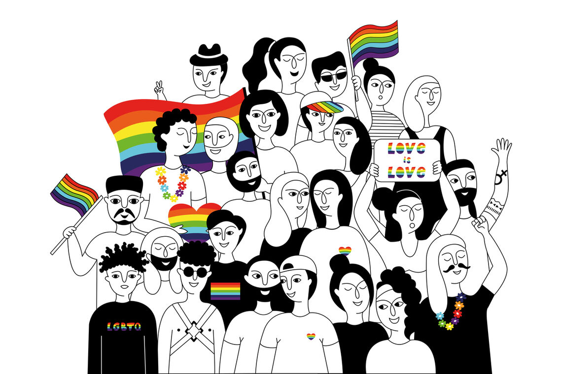 A vector drawing of a group of people participating in a Pride parade.