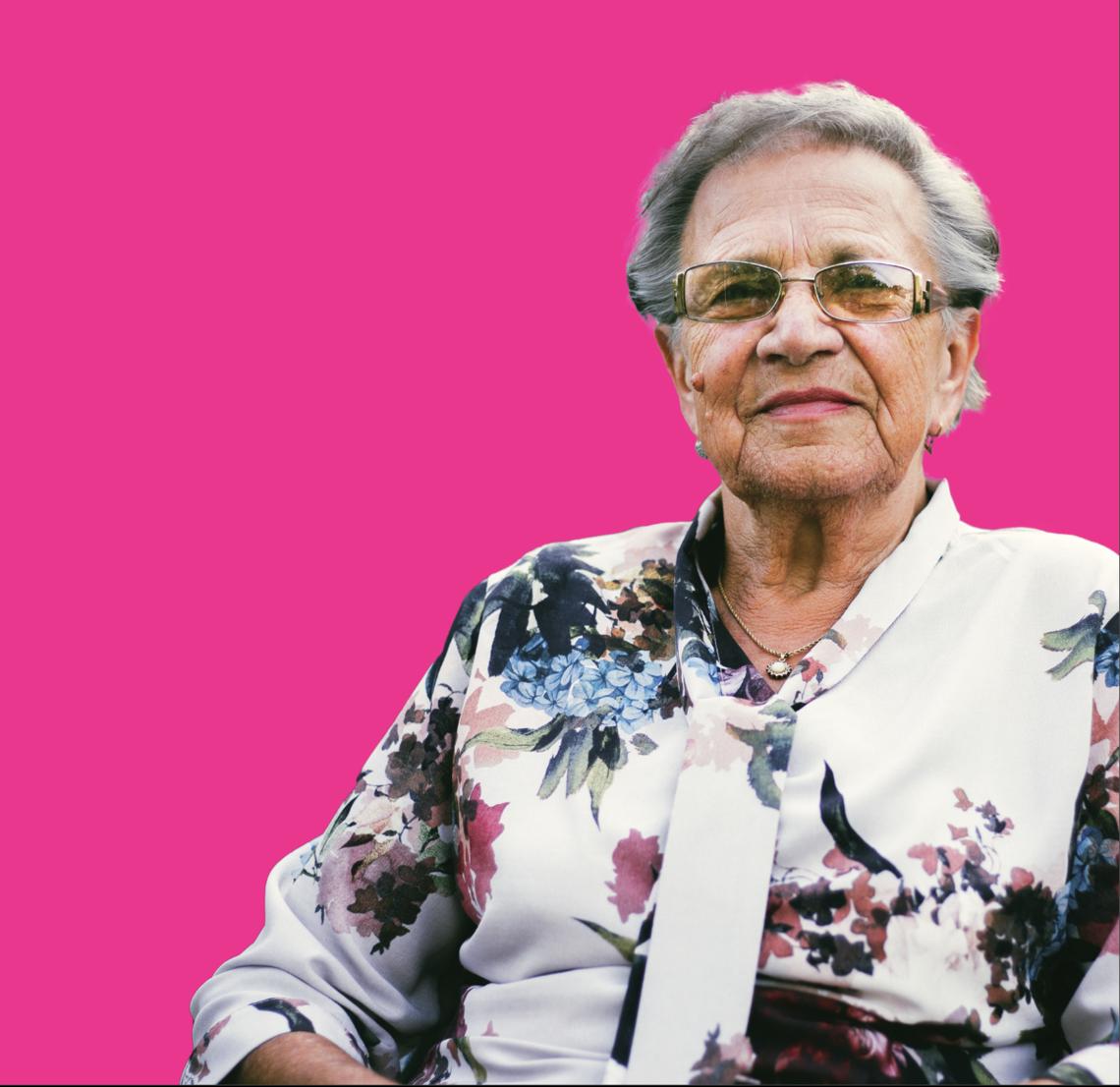 senior women on pink background